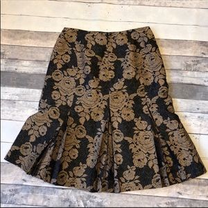 Ann Taylor Gold Floral Fit N Flare Skirt 2